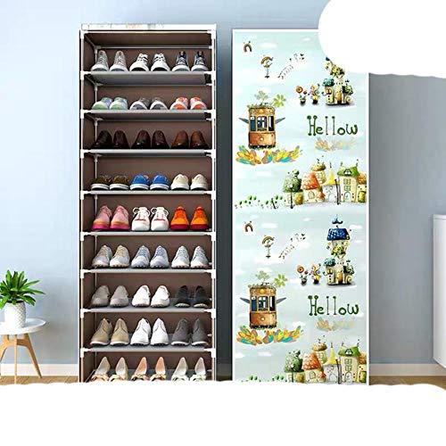Zapatero multicapa a prueba de polvo, fácil de instalar, ahorro de espacio, soporte para el hogar, dormitorio, entrada, zapatero de dibujos animados, 9 l (cremallera)