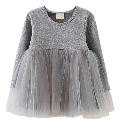 LYXIOF Baby Girls Toddler Tutu Dress Long Sleeve Princess Dress Infant Tulle Dress 2-Grey 12 Months