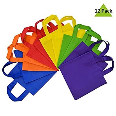 Reusable Gift Bags with Handles, Tote Bags, Party Favor Bags 12 Pack- Assorted Bright Neon Colors …