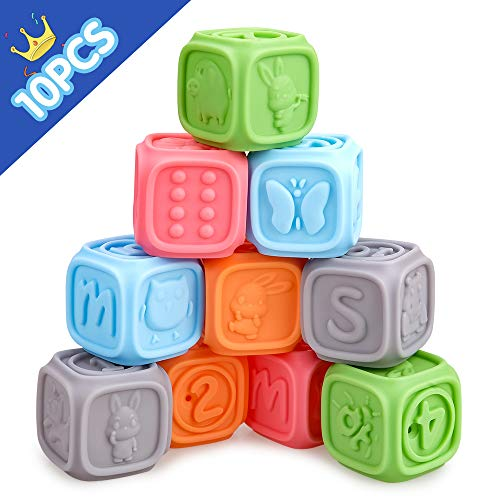 Baby Spielzeug für 6–18 Monate alte Jungen Mädchen, Geburtstag Geschenk, Montessori Spielzeug für Kinder Alter 1 2 3 Babys Weihnachten sgeschenk Säugling Beißring Squeeze Blöcke Stapel-Spielzeug