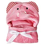 Toalla de bebé con capucha, manta de baño suave de forro polar coral para recién nacidos, albornoz con orejas, hipoalergénico, 0-24 meses (elefante rosa)