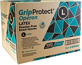 GripProtect® Operon Latex Exam Gloves, Disposable, Textured, Medical, Automotive, Janitorial, Home (1000/Cs) (Large)