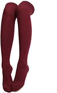 ​Womens Sexy Over Knee High Socks Leg Warmer Crochet Thigh High Boot Socks (Wine Red)