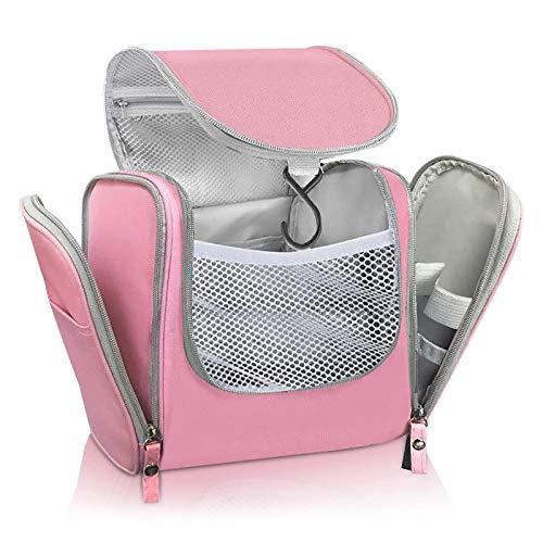UKEER Beauty Case da Viaggio, Borsa da Toilette Viaggio, Appeso Toiletry Organizer Grande Impermeabile Travel Trousse per Donna Uomo (Rosa)