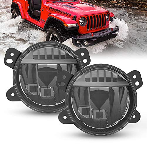 FieryRed LED Fog Lights Compatible with Jeep Wrangler JL 2018 2019 2020, OE Style Driving Fog Light with Cree LED Bulbs