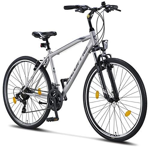 Licorne Bike Life-M-V (Grau/Schwarz) 28 Zoll Cross, Trekking, Mountainbike, MTB, geeignet ab 150 cm, Shimano 21 Gang-Schaltung, Gabelfederung, Jungen-Fahrrad & Herren-Fahrrad, Männerfahrrad