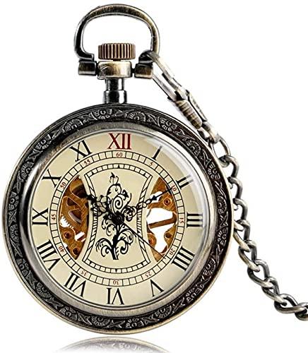FHISD Reloj de Bolsillo Vintage Patrón de árbol Relojes de Bolsillo de Cuerda Manual Mujeres Hombres Cadena mecánica Exquisito Esqueleto Números Romanos Regalo de Cuerda