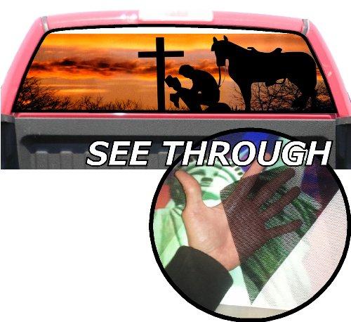 P50 Cowboy Praying Tint Rear Window Decal Wrap Graphic Perforated See Through Universal Size 65' x 17' FITS: Pickup Trucks F150 F250 Silverado Sierra Ram Tundra Ranger Colorado Tacoma 1500 2500