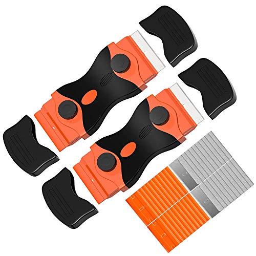 Rascador de vitrocerámica de doble cabezal, 2 en 1 con 20 cuchillas de acero al carbono y 20 cuchillas de plástico para eliminar pegamento, pintura, calcomanías y rasqueta de cocina.