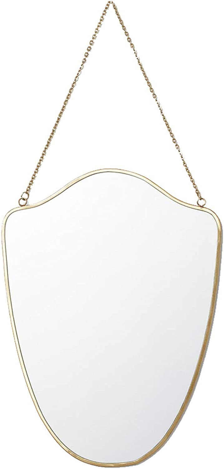 Wall Hanging Vanity Make Up Mirror golden Bathroom Mirrors with Metal Frame and Rope Living Rooms Wall Decorative Mirrors