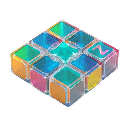 EasyGame 133 Cubo Flojo estupendo de la Velocidad, Rompecabezas mágico del Cubo 1x3x3 Transparente