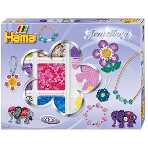 Hama Perlen 3716 Kreativbox Schmuck mit ca. 2.400 bunten Midi Bügelperlen mit Durchmesser 5 mm, 3 Stiftplatten, inkl. Bügelpapier, kreativer Bastelspaß für Groß und Klein