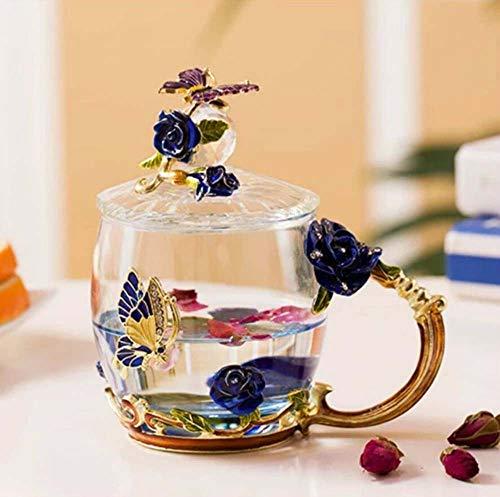 WANJIA Taza de té de Cristal Flor de Mariposa Taza de té Taza de café Tapa Cuchara Platillo, Abuela Mamá Regalo de cumpleaños Decoración navideña para el hogar,Azul,Low