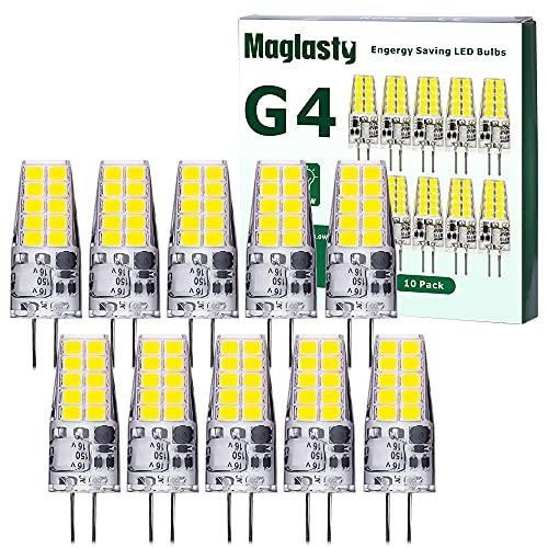 Ampoule LED G4 12V, 3W Equivalent 30W Halogène Lampe, 300LM AC/DC Ampoules 13mm x 37mm, Blanc froid 6000K Non Dimmable pour Éclairage de plafond, cuisine, 10 PACKS (Blanc Froid)