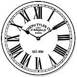 Reloj de pared rústico Hamilton de madera blanco, diseño redondo, decorativo, diseño de reloj de pared de madera, diseño ultra silencioso y silencioso que funciona con pilas.