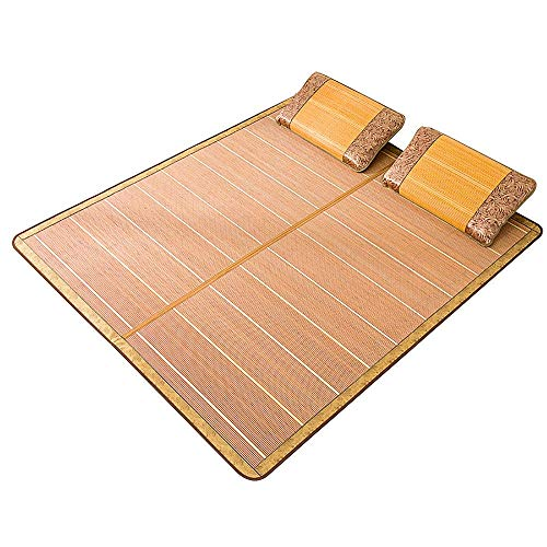 NCHEOI Cama de Estera de bambú/de Verano enfriamiento de Verano/colchón de ratán, Material de Seda de bambú y Hielo, diseño Reversible Plegable (Color : Brown, Size : 47.2×76.7')