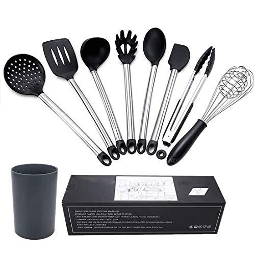 Juego de espátulas para utensilios de cocina, antiadherentes, 8 unidades, silicona para cocinar, acero inoxidable con soporte de plástico, color negro