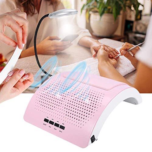 GuoEY 60W Potente colector de Polvo de uñas 2-en-1 Luz LED eléctrica Uñas Aspiradora 2 Ventilador Manicura Pedicura Extractor de Limpieza Uñas de Esmalte de Gel de acrílico UV Equipo de succión de