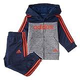 adidas Baby Boys' Li'l Sport Zip Front Hoodie & Sweatpants Clothing Set, Colorblock Collegiate Navy, 18 Months
