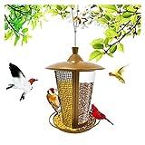 Comedero Para PáJaros Alimentador de aves Alimentador de aves de acero Cuelga para el jardín Decoración de la decoración Hexagon con forma de aleje de la casa tipo alimentador suministros de gota Come