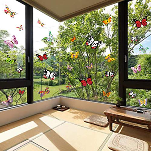 PARLAIM 28 PCS Colorful Butterfly Window Clings Anti-Collision Window Decals to Prevent Bird Strikes on Window Glass Non Adhesive Large Size Window Stickers