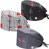 SATINIOR 3 Pcs Bouffant Cap with Button Sweatband Tie Back Hat for Women Men (Heart)