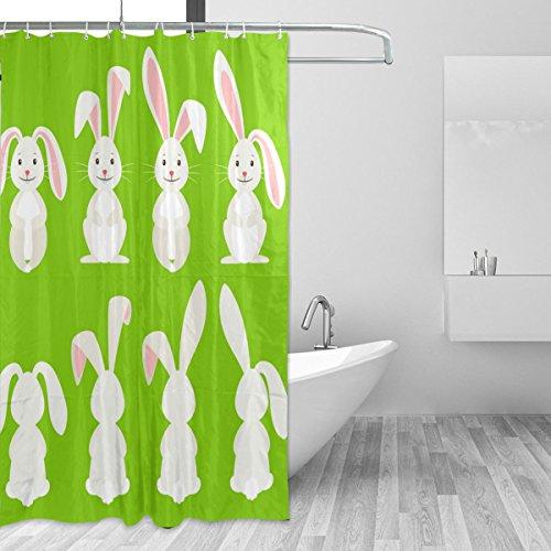 jstel Cute Kaninchen Ostern Polyester-Duschvorhang Schimmel resistent & wasserfest-182,9x 182,9cm für Home Extra Lang Badezimmer Deko Dusche Bad Vorhänge Liner mit 12Haken