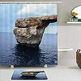 LISNIANY Conjunto De Ducha Cortina Alfombra,Piedra caliza Arco Natural Isla de Gozo Malta Decoración Final del acantilado Enorme Roca en el mar Lugar pintoresco de fama Mundial,Uso en baño, Hotel