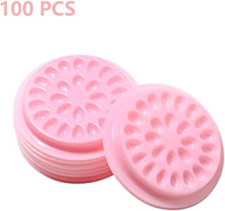 100 PCS Disposable Plastic Glue Pallet Pad for Eyelash Extensions Pink Flower Shaped Lashes Gasket Adhesive Pigment Holder Base for Nail Art or Tattoo Ink (Pink)