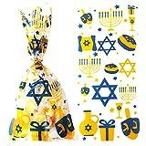 Hanukkah Candy Goodies Bags Chanukah/Hanukkah Party Favor Bags Hanukkah Dreidel Menorah Plastic Cellophane Treat Gift Bags for Chanukah Jewish Festival,Wedding,Bridal Shower,Birthday Party Decorations