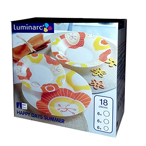 Luminarc - Vajilla de 18 piezas para 6 personas con decoración de cristal arcopal