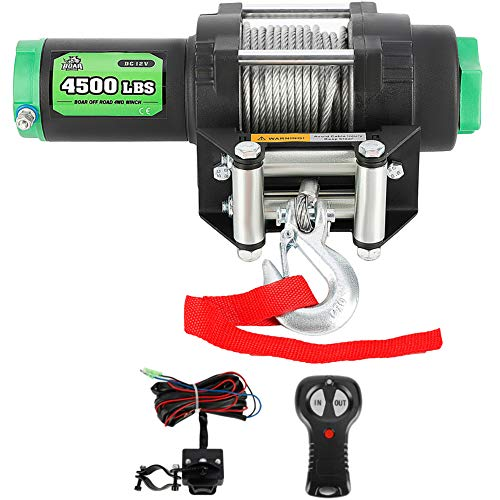 OFF ROAD BOAR 4500-lb. Electric Winch Kit for ATV/UTV, 12V IP67 Waterproof Quality Winch, Both Wireless Handheld Remote and Wired Handle(Steel Cable)