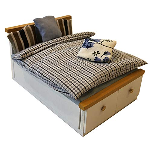 Inusitus DIY Dollhouse Queen/Double Bed Kit | Miniature Furniture | Dolls House Kits | Requires Assembly | 1/18 Scale (Queen-Bed-2)
