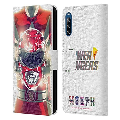 Head Case Designs sous Licence Officielle Power Rangers Ranger Rouge Rétro Problème #0 Coque en Cuir à Portefeuille Compatible avec Sony Xperia L4