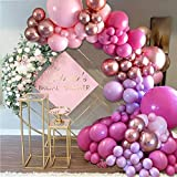 Arco de globos de color rosa y oro rosa, 126 piezas de guirnalda de globos rosa con globo de oro rosa 4D, globos de látex rosa morado para decoraciones de fiesta de cumpleaños de niñas y baby shower