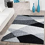 T&T Design Alfombra Shaggy Moderna Pelo Largo Diseño Vigo Negro Gris Blanco Al Mejor Precio, Größe:70x140 cm