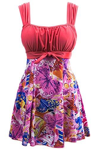 Wantdo Damen Badeanzug Große Größen Badekleid mit Röck Pink 36-38