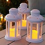 Lights4fun Conjunto de 3 farolillos Blancos con Vela LED a Pilas