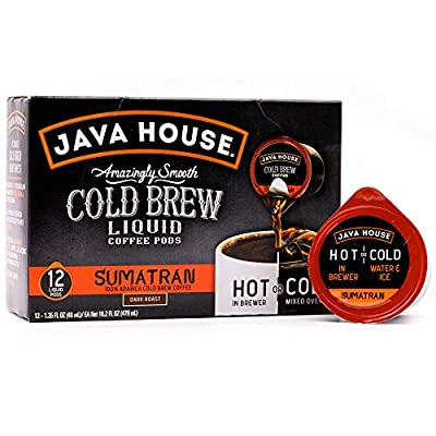 Java House Cold Brew Coffee Concentrate Single Serve Liquid Pods - 1.35 Fluid Ounces Each (Sumatran, 12 Count)