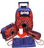 Kit Mochila Escolar Rodinha Crazy Spider Man Homem Aranha G