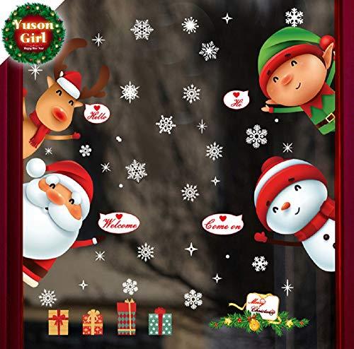 Yuson Girl Ventanas de Navidad Pegatinas Papá Noel Reno Vinilo Extraíble árbol de Navidad DIY Wall Window Door Mural Decal Sticker para Escaparate