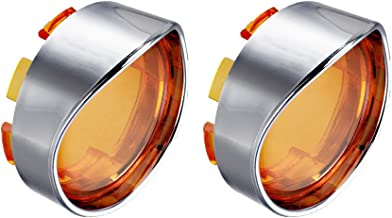 NTHREEAUTO Turn Signal Visors Lights Lens Covers Compatible with Harley Dyna Fatboy Softail Road Glide(Qty:2, Amber)