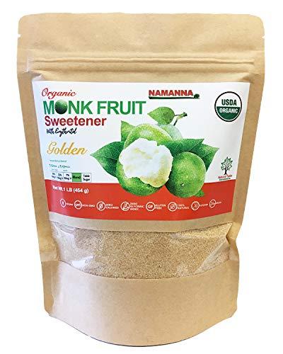 NAMANNA Organic Monk Fruit Sweetener - 1:1 Brown Sugar Substitute, Keto, Sugar Free, Non GMO, Kosher, Gluten Free, Golden with Erythritol, Granulated, 1 lb