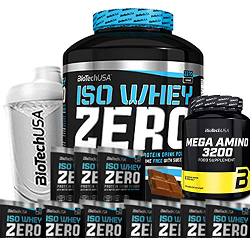 Biotech USA Iso Whey Zero (1 x 2,27 kg) (cioccolato) + Shaker + 10 campioni + 1 Mega Amino (500 compresse)