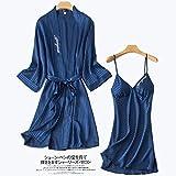 GYPPG Camisón, Azul 2PCS Bordado Kimono Albornoz Vestido Twinset Robe Set Lady Satin Sleepwear Camisón Sexy Novia Dama de Honor Vestido de Novia L Azul Marino