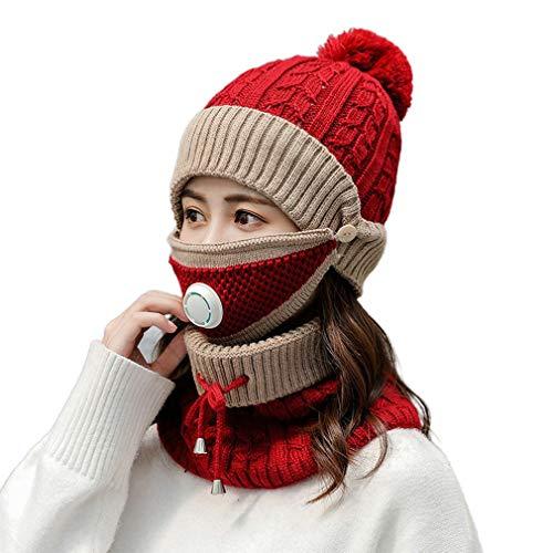 3-delige set dames gebreide muts sjaalkappen met masker nekwarmer voor dames mutsen warme fleece caps cadeau voor meisje rood