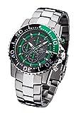 FIREFOX Zion FFS17-108b schwarz/grün Herrenuhr Armbanduhr Chronograph massiv Edelstahl Sicherheitsfaltschließe 10 ATM Water Resistant