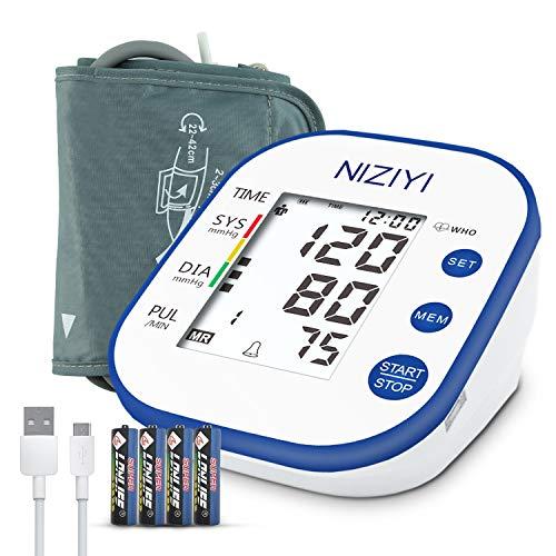 NIZIYI Tensiómetro de Brazo - Digital Monitor de Presión Arterial Automatico con Función Memoria y TransmisióN Voz, Gran Pantalla LCD Retroiluminada, 2x99 Medición Precisa de Presión Arterial y Pulso