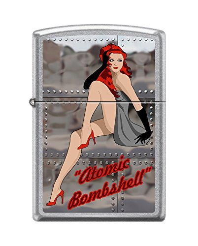 Zippo Custom Lighter DesignSexy Lady in Heels with Atomic Bombshell Inscribed Windproof Collectible -Cool Cigarette Lighter Case Made in USA Limited Edition & Rare