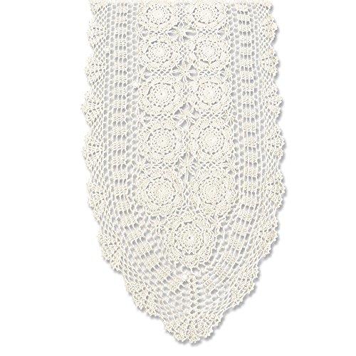 KEPSWET Ovaler Tischläufer aus Baumwolle, handgefertigt, gehäkelt, Spitze, Beige, 35,6 x 91,4 cm, Mischung, beige, 14